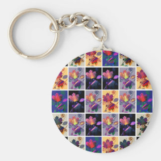 Autumn Leaves Rustic Patchwork Quilt Collage Key Chain