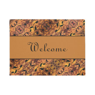 Autumn Leaves Silhouette Modern Pattern Welcome Doormat