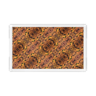 Autumn Leaves Silhouette Pattern Brown Black Acrylic Tray