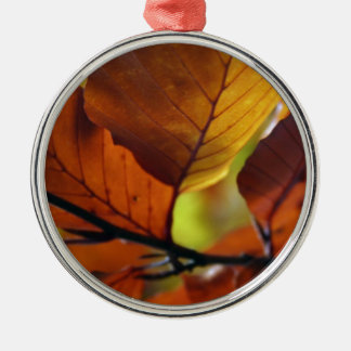 Autumn leaves Silver-Colored round decoration