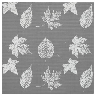 Autumn leaves - silver grey and white fabric