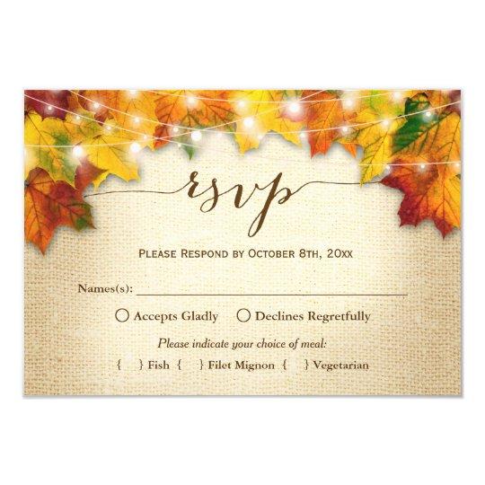 Autumn Leaves String Lights Burlap Wedding RSVP Card