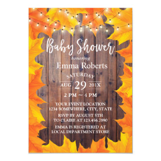 Autumn Leaves String Lights Fall Baby Shower Card