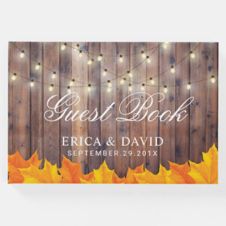 Autumn Leaves String Lights Rustic Barn Wedding Guest Book