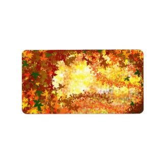 Autumn Leaves Swirl Customizable Label