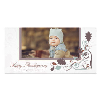 Autumn Leaves Swirls Thanksgiving Holiday Greeting Customised Photo Card