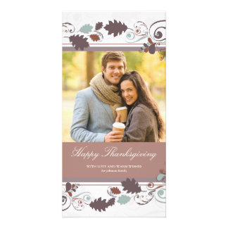 Autumn Leaves Swirls Thanksgiving Holiday Greeting Picture Card