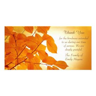 Autumn Leaves Sympathy Thank You Custom Photo Card