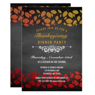Autumn Leaves Thanksgiving Dinner Chalkboard Card