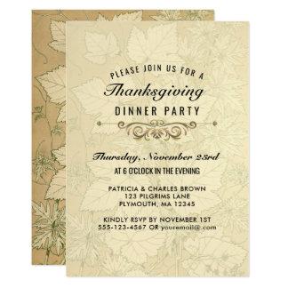 Autumn Leaves Thanksgiving Dinner Elegant Card