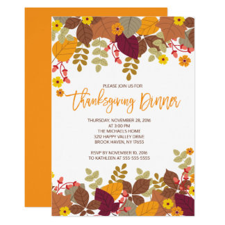 Autumn Leaves Thanksgiving Dinner Invite