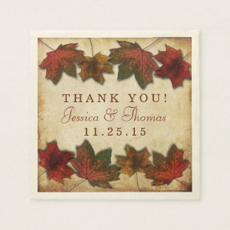 Autumn Leaves Thanksgiving Dinner Paper Serviettes