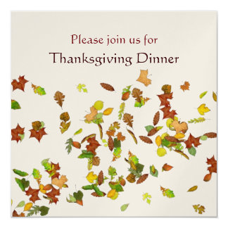 AUTUMN LEAVES Thanksgiving Dinner Party gold 13 Cm X 13 Cm Square Invitation Card