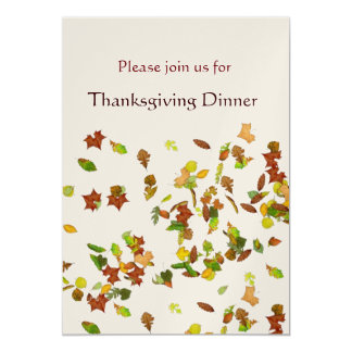 AUTUMN LEAVES Thanksgiving Dinner Party gold 13 Cm X 18 Cm Invitation Card