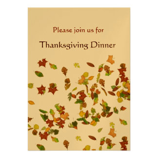 AUTUMN LEAVES Thanksgiving Dinner Party gold Custom Announcements