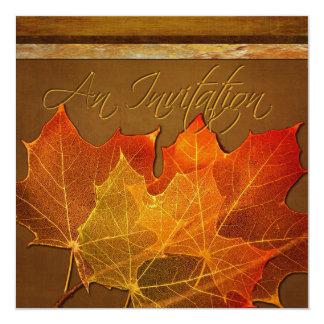 Autumn Leaves Thanksgiving 5.25x5.25 Square Paper Invitation Card