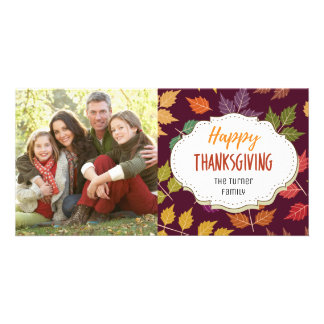 Autumn Leaves Thanksgiving Picture Photo Card