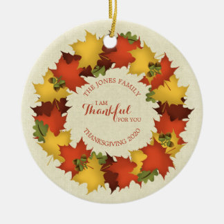 Autumn Leaves Thanksgiving Wreath Christmas Ornament