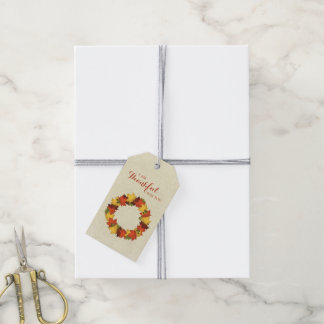 Autumn Leaves Thanksgiving Wreath Gift Tags