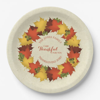 Autumn Leaves Thanksgiving Wreath Paper Plate