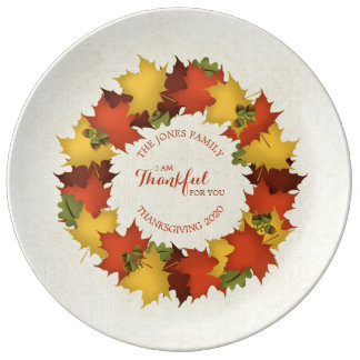 Autumn Leaves Thanksgiving Wreath Plate
