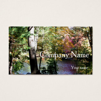 Autumn leaves through the trees business card