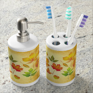 Autumn Leaves Toothbrush and Soap Dispenser Set