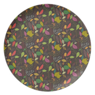 Autumn leaves tropical night plate
