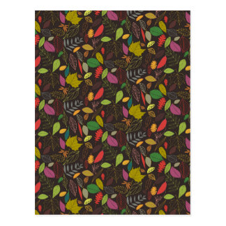 Autumn leaves tropical night postcard