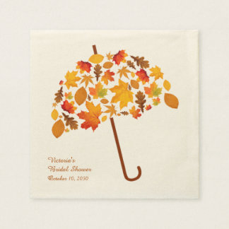 Autumn Leaves Umbrella Disposable Serviettes