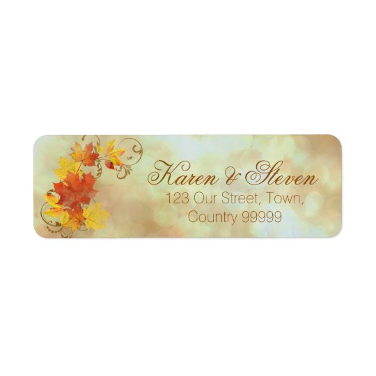Autumn Leaves Watercolor AWLa Return Address Label