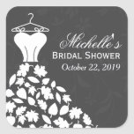 Autumn Leaves Wedding Dress Bridal Shower Favor Stickers