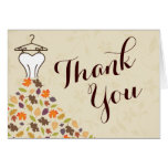 Autumn Leaves Wedding Dress Thank You Greeting Cards