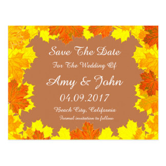 Autumn leaves wedding save the date autumn1 postcard