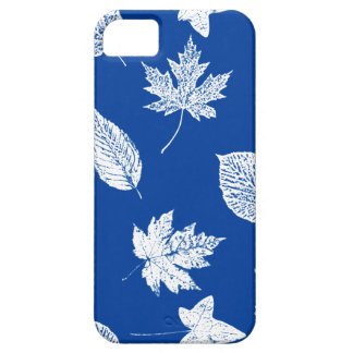 Autumn leaves - white and cobalt blue cover for iPhone 5/5S