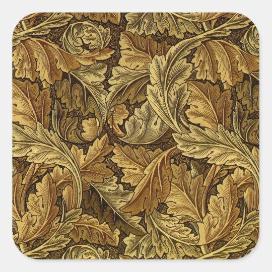 Autumn leaves William Morris pattern Square Sticker