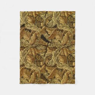 Autumn leaves William Morris vintage pattern Fleece Blanket