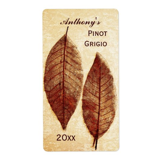 autumn leaves wine bottle label shipping label
