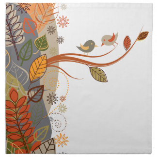 Autumn Leaves with Birds Printed Napkin