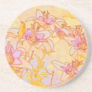 Autumn Lilies - Digital Watercolor Drink Coasters