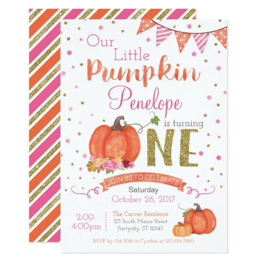 Autumn Little Pumpkin 1st Birthday Invitation