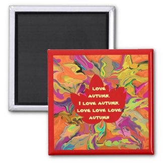 autumn love maple leaf square magnet