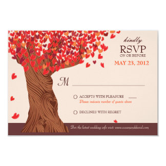 Autumn Love Romantic Oak Tree Fall Wedding RSVP 9 Cm X 13 Cm Invitation Card
