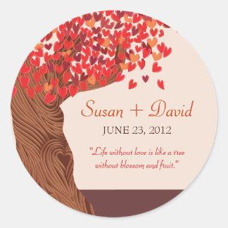 Autumn Love Romantic Oak Tree Wedding Seal Sticker