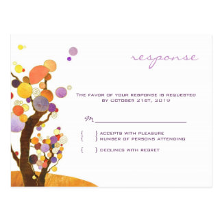 Autumn Love Trees Purple Wedding RSVP Postcard