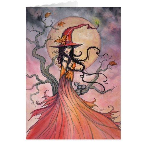 Autumn Magic Witch and Cat Halloween Art Card