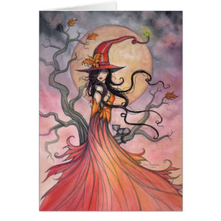 Autumn Magic Witch and Cat Halloween Art Greeting Card