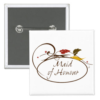 Autumn Maid of Honour 15 Cm Square Badge