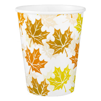 Autumn Maple Fall Colorful Foliage Leaves Party Paper Cup