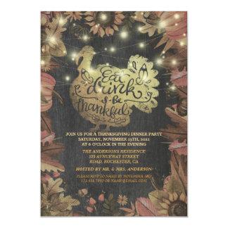 Autumn Maple Gold Turkey Thanksgiving Dinner Party Card
